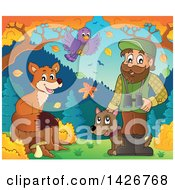 Happy Male Forester With A Bird And Fox Binoculars And A Dog In An Autumn Landscape