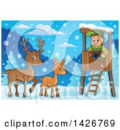Clipart Of A Happy Male Forester In A Lookout Watching Deer On A Winter Day Royalty Free Vector Illustration by visekart