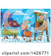 Clipart Of A Happy Male Forester In A Lookout Watching A Bird And Deer On A Winter Day Royalty Free Vector Illustration by visekart
