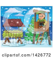 Clipart Of A Happy Male Forester In A Lookout Over Hay On A Winter Day Royalty Free Vector Illustration by visekart