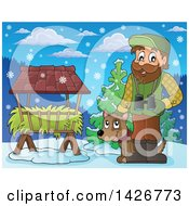 Clipart Of A Happy Male Forester By A Hay Trough With Binoculars And A Dog In A Winter Landscape Royalty Free Vector Illustration by visekart
