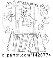 Clipart Of A Black And White Lineart Happy Male Forester In A Lookout Royalty Free Vector Illustration by visekart