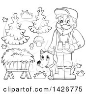 Clipart Of A Black And White Lineart Male Forest Worker With A Dog Trough Mushrooms And Trees Royalty Free Vector Illustration by visekart