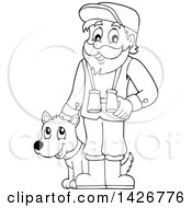 Black And White Lineart Happy Male Forester With Binoculars And A Dog