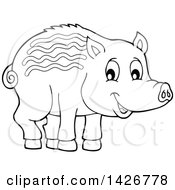 Black And White Lineart Razorback Boar Piglet