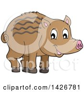 Clipart Of A Razorback Boar Piglet Royalty Free Vector Illustration