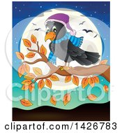 Clipart Of A Happy Crow On An Autumn Branch Against A Full Moon Royalty Free Vector Illustration by visekart