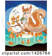 Clipart Of A Happy Squirrel Holding An Acorn On An Autumn Branch Against A Full Moon Royalty Free Vector Illustration by visekart