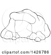 Clipart Of A Cartoon Black And White Lineart Cave Royalty Free Vector Illustration