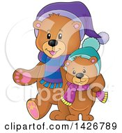 Clipart Of Parent And Child Bears Walking And Wearing Winter Accessories Royalty Free Vector Illustration