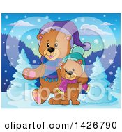 Clipart Of Parent And Child Bears Walking And Wearing Winter Accessories In The Woods Royalty Free Vector Illustration