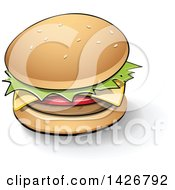 Clipart Of A Cheeseburger With A Shadow And Black Outlines Royalty Free Vector Illustration by cidepix