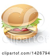 Clipart Of A Cheeseburger With A Shadow Royalty Free Vector Illustration by cidepix