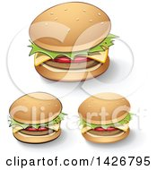 Clipart Of Cheeseburgers With Shadows Royalty Free Vector Illustration by cidepix