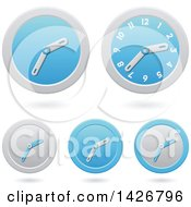 Clipart Of Modern Blue Wall Clock Time Icons With Shadows Royalty Free Vector Illustration