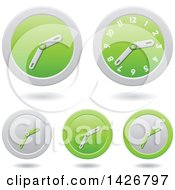 Clipart Of Modern Green Wall Clock Time Icons With Shadows Royalty Free Vector Illustration