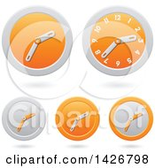 Clipart Of Modern Orange Wall Clock Time Icons With Shadows Royalty Free Vector Illustration