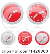 Clipart Of Modern Red Wall Clock Time Icons With Shadows Royalty Free Vector Illustration
