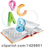 Clipart Of Colorful A B C D Letters Over An Open Book Royalty Free Vector Illustration