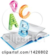 Clipart Of Colorful Striped A B C D Letters Over An Open Book Royalty Free Vector Illustration