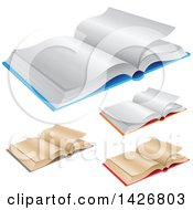 Clipart Of 3d New And Antique Open Books Royalty Free Vector Illustration