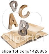 Clipart Of A B C D Letters Over An Old Open Book Royalty Free Vector Illustration