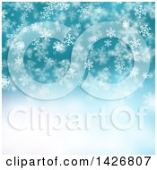Clipart Of A Christmas Background Of Falling White Snowflakes And Stars Over Blue Royalty Free Illustration