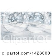 Clipart Of A 3d Snowy Winter Landscape With Snowflakes And Hills Royalty Free Illustration