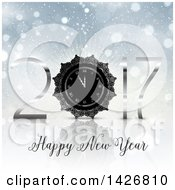 Clipart Of A Silver Happy New Year 2017 Clock Design On A Burst And Flares Royalty Free Vector Illustration