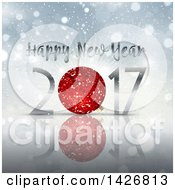 Clipart Of A Happy New Year 2017 Design With A Red Bauble Over Flares Royalty Free Vector Illustration