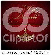 Clipart Of Golden Happy Diwali Text And Oil Lamp On Red Damask Royalty Free Vector Illustration by KJ Pargeter