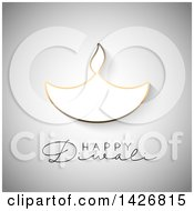 Clipart Of Happy Diwali Text With A Gold Outlined Oil Lamp On Gray Royalty Free Vector Illustration by KJ Pargeter