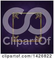 Clipart Of A Vintage Ornate Golden Square Frame On Purple Damask Royalty Free Vector Illustration by KJ Pargeter