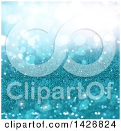 Clipart Of A Background Of Turquoise Glitter And Blurred Flares Royalty Free Illustration