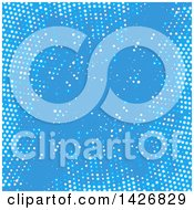 Clipart Of A Blue Background With Halftone Dots Royalty Free Vector Illustration by KJ Pargeter