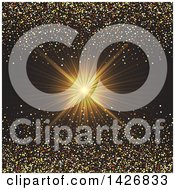 Clipart Of A Golden Ray Burst With Confetti Glitter On Black Royalty Free Vector Illustration