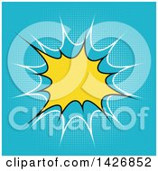 Clipart Of A Retro Yellow Comic Burst On Blue Royalty Free Vector Illustration
