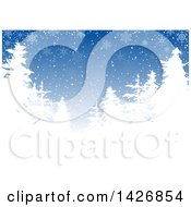 Clipart Of A Blue Winter Background With White Silhouetted Evergreen Trees And Snowflakes Royalty Free Vector Illustration