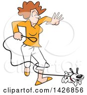 Cartoon Happy Puppy Dog Running And Tangling A Caucasian Woman In A Leash