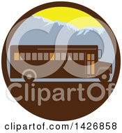 Clipart Of A Retro School Bus Against Mountains In A Circle Royalty Free Vector Illustration