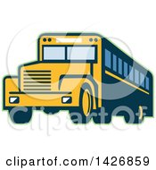 Clipart Of A Retro Yellow School Bus Outlined In Green Royalty Free Vector Illustration