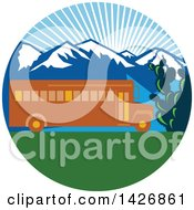 Clipart Of A Retro Yellow School Bus With Cactus And Mountains Against A Sunny Sky Inside A Circle Royalty Free Vector Illustration