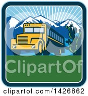 Clipart Of A Retro Yellow School Bus With Cactus And Mountains Against A Sunny Sky Inside A Square Royalty Free Vector Illustration