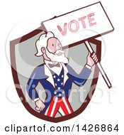 Clipart Of A Retro Cartoon Uncle Sam Holding Up A Vote Sign Emerging From A Brown And Gray Shield Royalty Free Vector Illustration by patrimonio