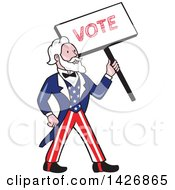 Clipart Of A Retro Cartoon Uncle Sam Holding Up A Vote Sign Royalty Free Vector Illustration