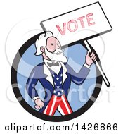 Retro Cartoon Uncle Sam Holding Up A Vote Sign Emerging From A Black And Blue Circle