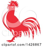 Clipart Of A Retro Red And White Crowing Rooster Royalty Free Vector Illustration