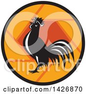 Retro Black And White Crowing Rooster In An Orange Shutter Circle