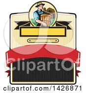 Clipart Of A Retro Male Organic Farmer Carrying A Bushel Of Harvest Produce In A Circle Against A Barn And Silo Over A Badge Royalty Free Vector Illustration by patrimonio