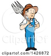 Clipart Of A Retro Cartoon Male Farmer Or Worker Holding A Pitchfork Over His Shoulder Royalty Free Vector Illustration